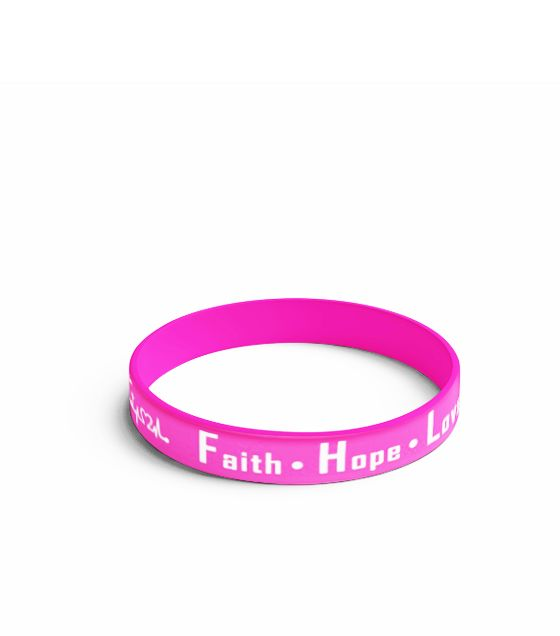 Pulseira rosa Faith - Hope - Love